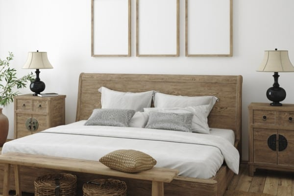 mockup frame in bedroom interior background farmhouse