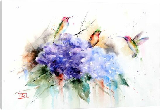 3 hummingbirds on canvas