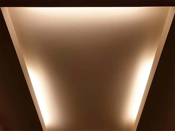 Lighting in a Recessed Ceiling Provides Indirect Illumination