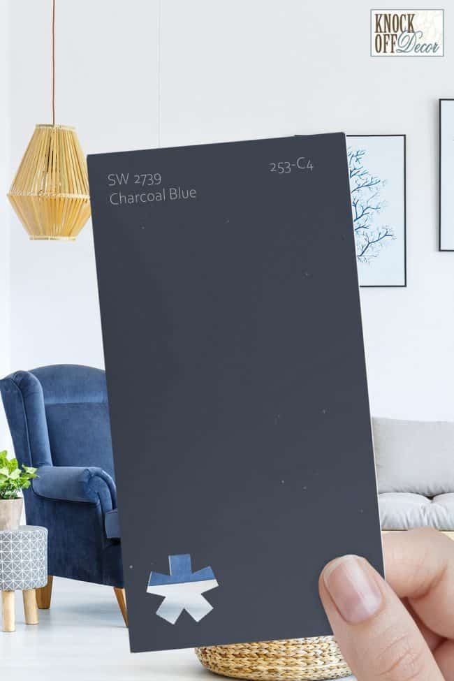 SW charcoal blue single paint chip