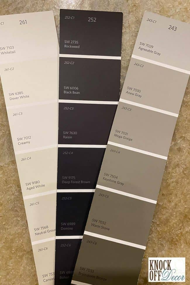 SW neutral ground coordinated paint chip