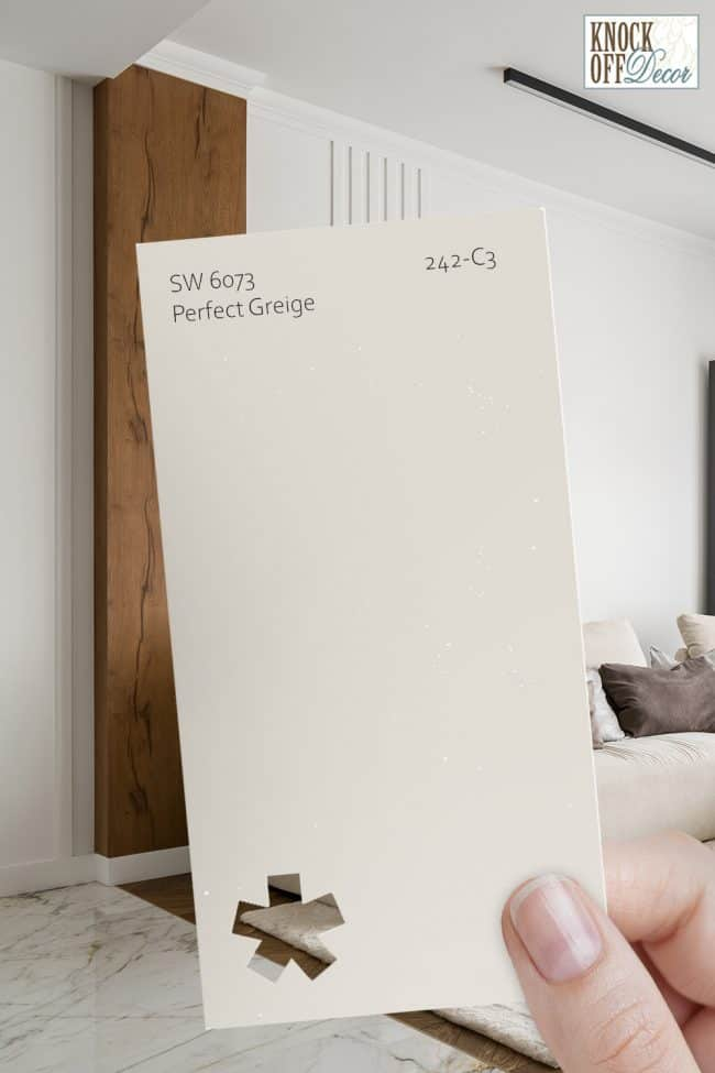 SW perfect greige paint chip