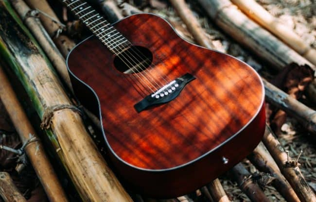 beautiful acoustic guitar made from mahogany wood