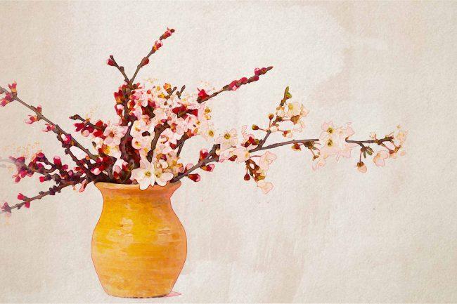 cherry blossom pink yellow jar