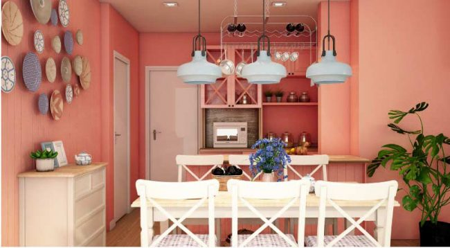 coral paint in apartment