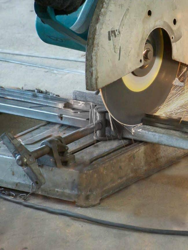 cutting diy barn door rail piece