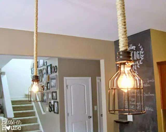 diy pendants inudstrial attic look