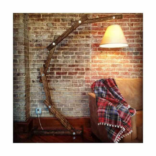 homemade wooden floor lamp