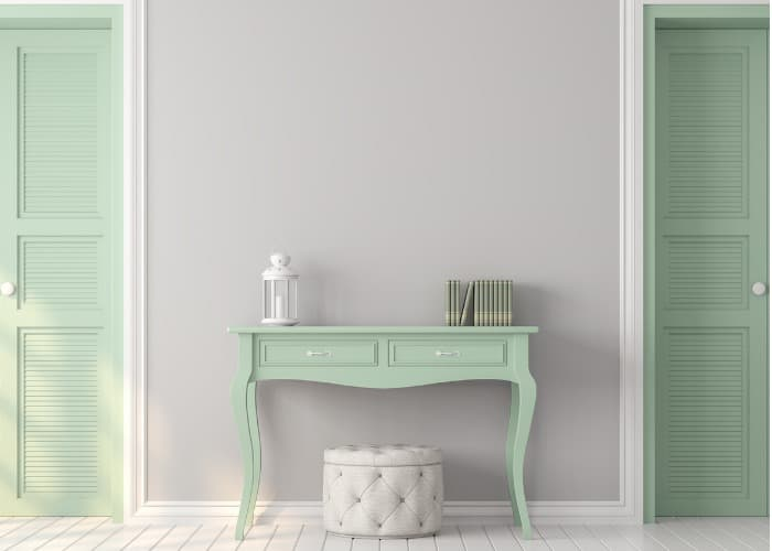 mint green vintage scene