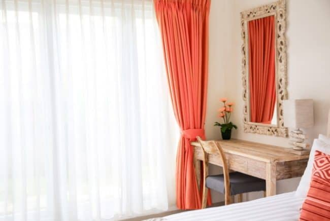 modern coral colored curtains