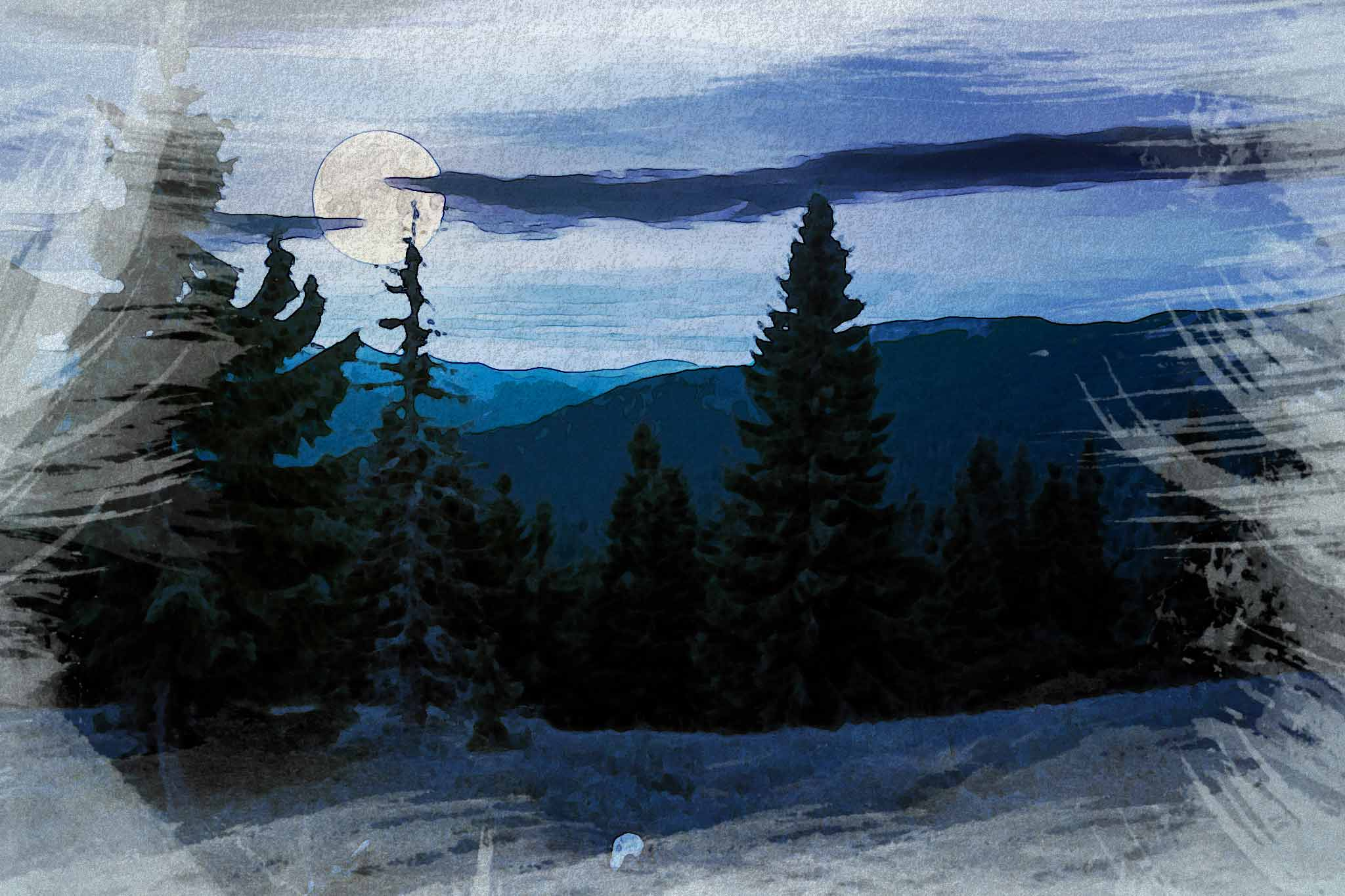 moon night hill