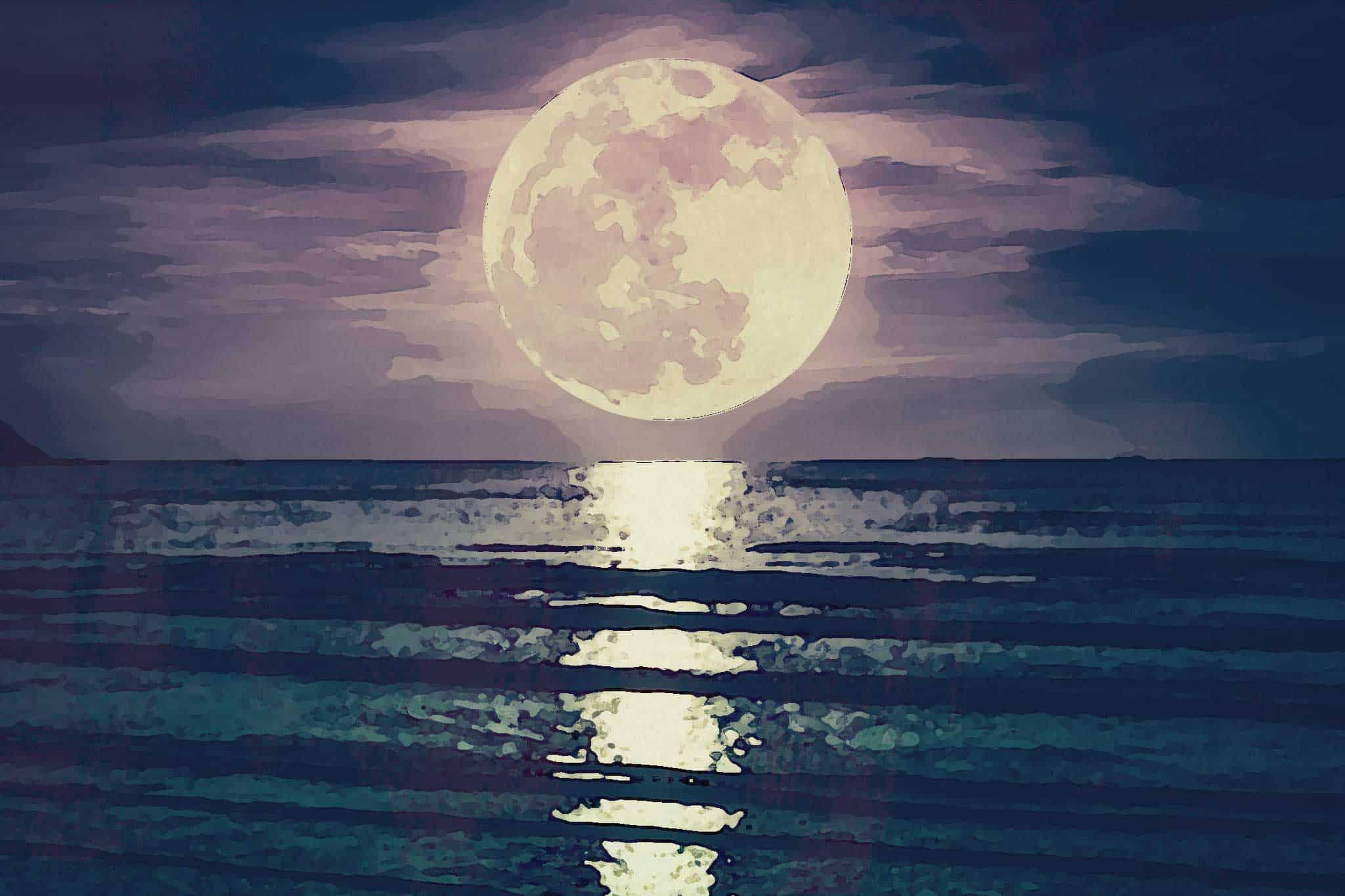moon night sea
