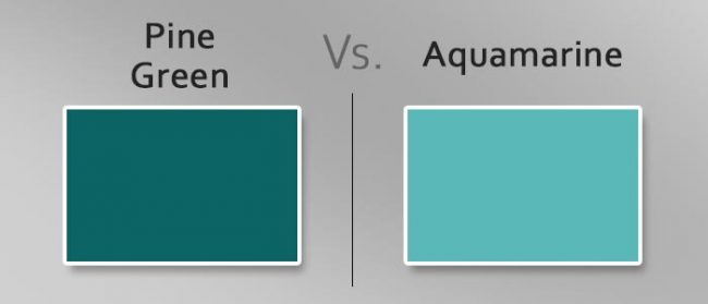 pine green vs aquamarine differences