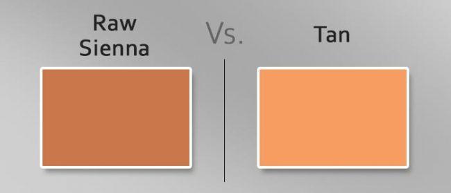 raw sienna vs tan