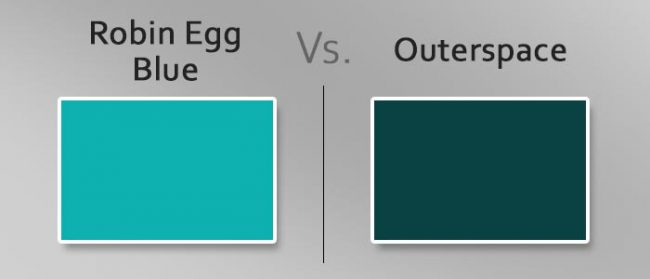 robin egg blue vs outerspace differences