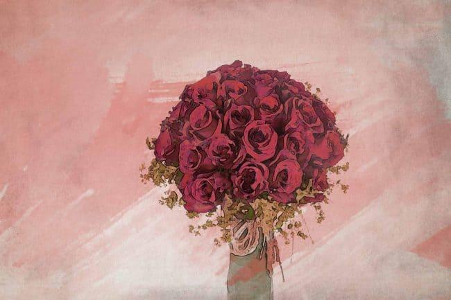 rose red flower vase
