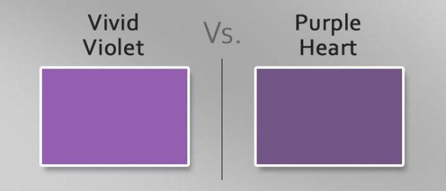 vivid violet vs purple heart