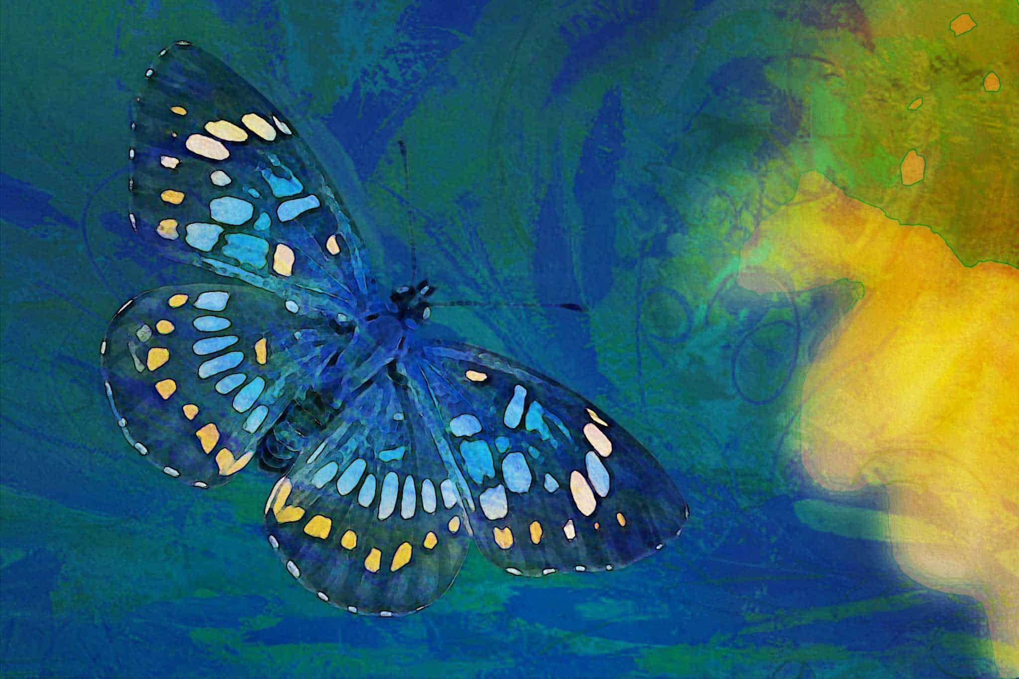 watercolor butterfly neon blue