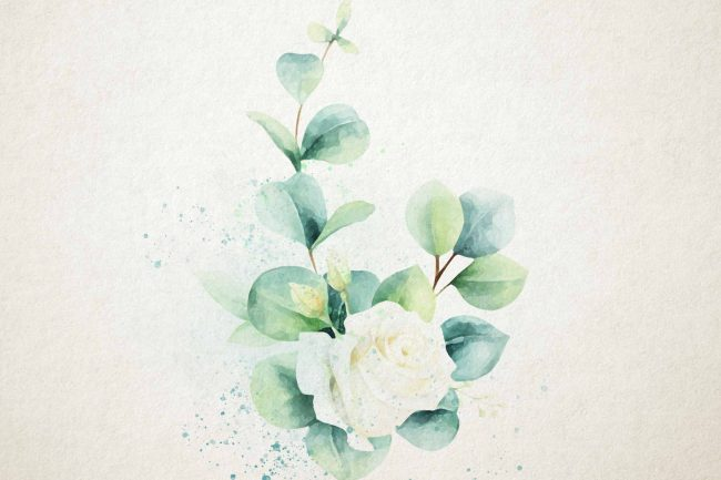 watercolor eucalyptus with center flower
