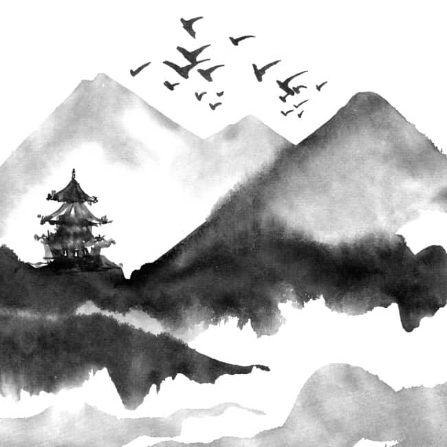watercolor using dark black carbon shade