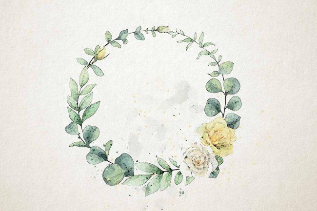 wreathe eucalyptus watercolor